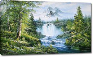 Бурная река в густом лесу