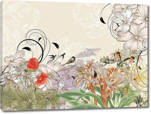 Птицы в цветочных зарослях