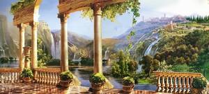 Живописный вид на водопад с террасы
