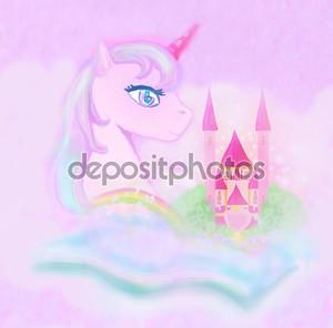 милый единорог Радуга и сказка принцесса замок