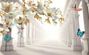 Цветы и колоннада