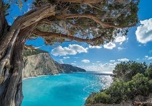 View over Porto Katsiki beach in Lefkas island