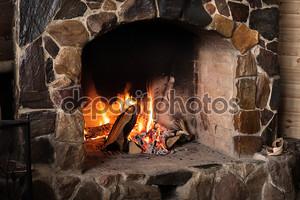 камин открытый огонь