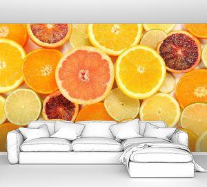 Фон с сочными апельсинами и лимонами