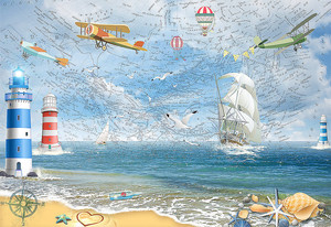 Парусники и самолетики на фоне карты