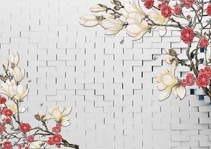 Кирпичная стена, ветки с белыми и красными цветами