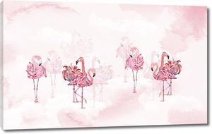 Фламинго позируют