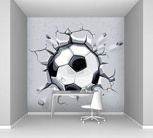 Футбольный мяч и старая штукатурка стен ущерб. Векторные иллюстрации