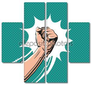Fisticuff comic book, vector illustration