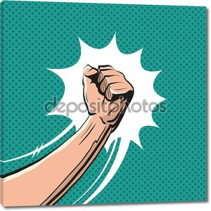 Fisticuff comic book, vector illustration
