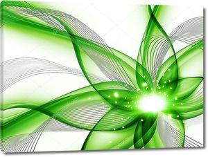 зеленый абстрактный цветок на белом фоне