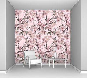 Бесшовный фон с цветами сакуры