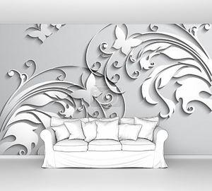 Абстрактный фон с бумажные цветы и бабочки