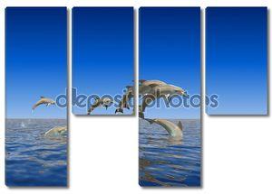 Дельфины стаей