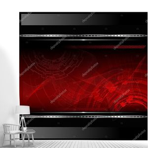 технологические красный фон с металлическим баннер. Векторные иллюстрации.