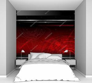 Красный фон с металлическим баннером