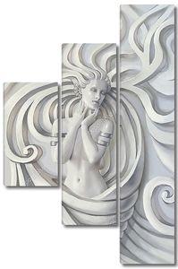 Скульптура красивой женщины с браслетами