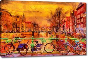Акварельный рисунок велосипедов в Амстердаме