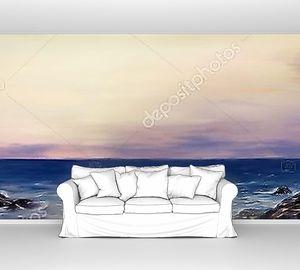 Маяк море масляной живописи панорамный