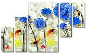 Золотые рыбки, голубые розы