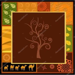 Орнамент с верблюдами и деревом посередине
