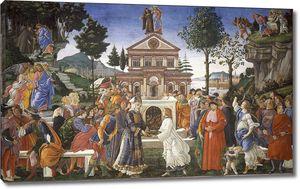 Боттичелли. Фреска Сикстинской капеллы. Три искушения Христа и исцеление прокаженного