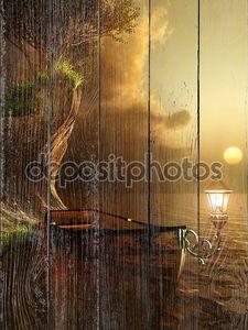 Старая лодка в вечернее солнце света
