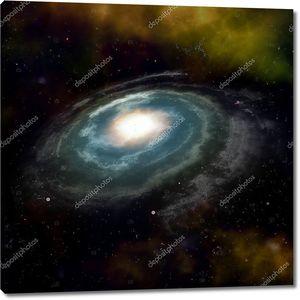 Синий спиральная галактика против Черное пространство