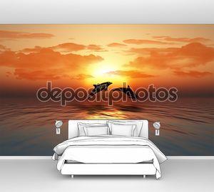 Закат океан с Прыжки дельфинов