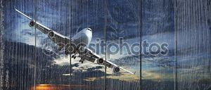 Реактивный самолет, круизы закат небо