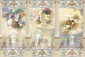 Абстрактный рисунок с колоннами и скульптурами