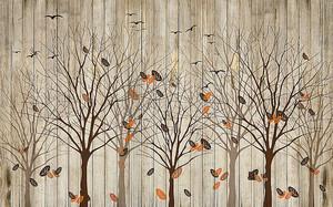 Облетающие деревья на фоне забора