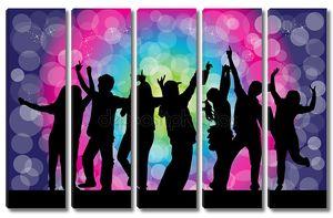 Танцы силуэты - гранж-фон