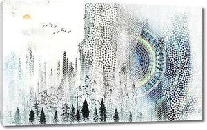 Мозаичная стена с деревьями