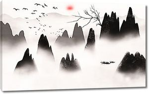 Гребни скал в тумане