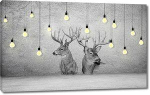 Головы оленей на стене с лампочками