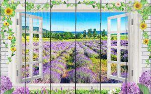 Лавандовое поле в окне