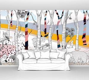 Woodland-животные в цветном лесу