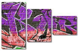 кирпичная стена с граффити крупным планом