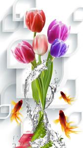 Золотые рыбки с тюльпанами