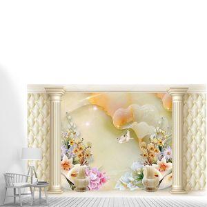Абстрактный фон, цветы, колонны