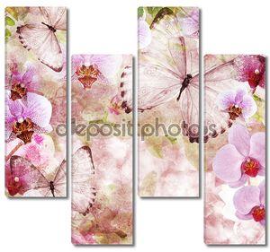 бабочки и орхидеи цветы розовый фон (1 комплект)