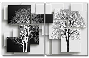 Черно белые деревья
