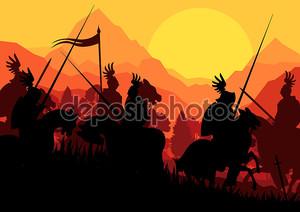 Средневековый рыцарь всадник силуэты
