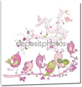 Симпатичные пение птиц гуцулами и Весна дизайн