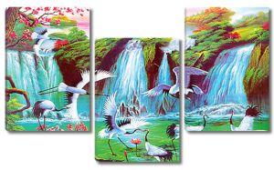 Журавли резвятся у водопада