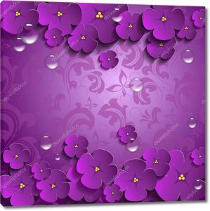 Фиолетовый фон, цветы, пузыри