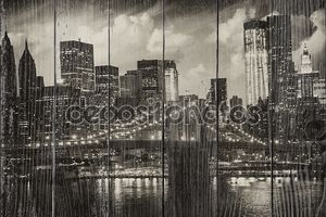 Манхэттен, Нью-Йорк - черно-белый вид высотой skyscrap