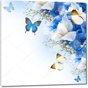 Голубые гортензии и белые ирисы