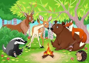 Смешные животные вместе в лесу